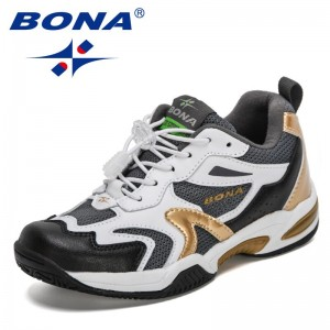 BONA 2021 New Designers Trendy Sneakers Children Running Sports Shoes Lightweight Kids Casual Footwear Child Hook & Loop Shoes