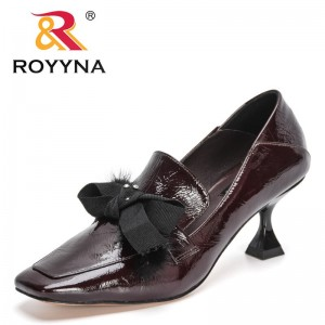 ROYYNA 2021 New Designers Bowknot Pumps Women Fashion Office Work Wedding Party Shoes Ladies High Heel Square Toe Shoes Feminimo
