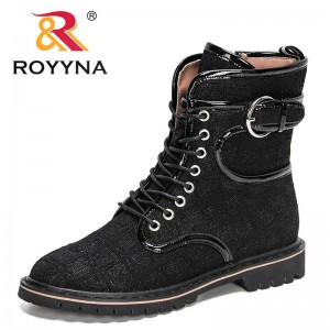 ROYYYNA 2021 New Designers Classics Platform Boots Fashion Women Mid-Calf Boots Woman Motorcycle Boots Ladies High Top Footwear