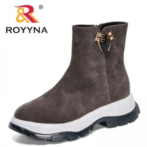 ROYYNA 2021 New Designers Suede Ankle Boots for Women Motorcycle Boots Thick Heel Platform Shoes Woman Round Toe Metal Decration