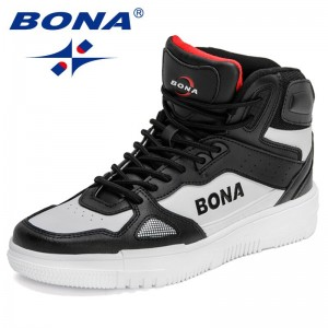 BONA 2021 New Designers Brand Light Outdoor Sneakers Men Soft Casual Shoes Male High Top Walking Shoes Man Leisure Footwear Soft