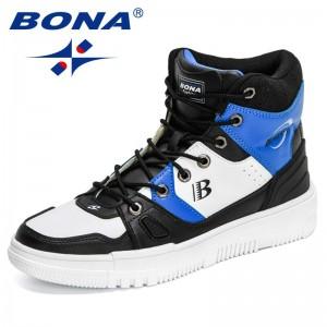 BONA 2021 New Designers High Top Streetwear Comfortable Chunky Sneakers Men Outdoor Walking Footwear Man Leisure Shoe Mansculino