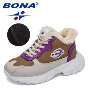 BONA 2021 New Designers High Top Children Snow Boots Comfortable Warm Shoes Outdoor Kids Winter Boots Non-Slip Plush Shoes Child