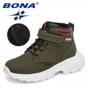 BONA 2021 New Designers Casual Shoes Autumn Winter Boots Boys Fashion Leather Soft Antislip Plush Boots Girls High Top Shoes Kid