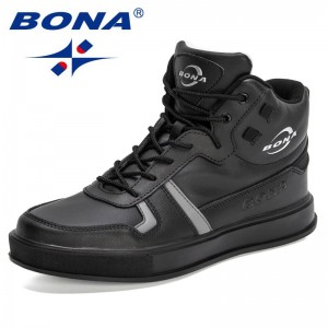 BONA 2021 New Designers Classics High Top Sneakers Men Casual Shoes Man Fashion Shoes Spring Autumn Loafers Students Comfortable