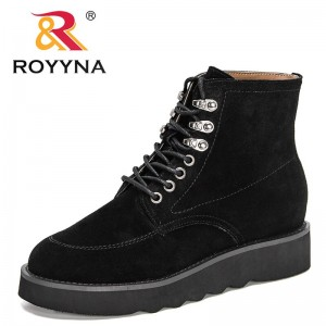 ROYYNA 2021 New Designers Popular High Top Winter Shoes Ladies Flock British Style Retro Ankle Boots Women Flat Thick Footwear