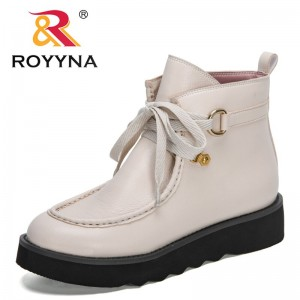 ROYYNA 2021 New Designers Classics Ankle Boots Women White High Top Booties Ladies British Wind Boots Female Winter Flat Shoes