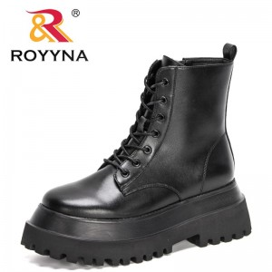 ROYYNA 2021 New Designers Chunky Motorcycle Boots for Women Fashion Round Toe Lace-up Boots Ladies Platform High Top Boots Woman