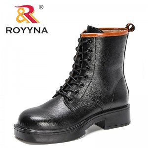 ROYYNA 2021 New Designers Soft Boots Women Fashion Round Toe Ankle Boots Woman Winter Lace Up Platform High Top Boots Feminimo