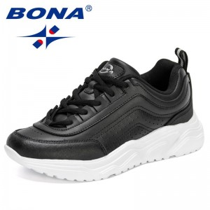 BONA 2021 New Designers Luxury Brand Thick Bottom Sneakers Women High Quality Lace-Up Casual Shoes Ladies Leisure Footwear Soft