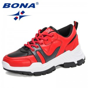 BONA 2021 New Designers Breathable Vulcanized Shoes Women Sports Shoes Thick Sole Running Shoes Ladies Walking Sneakers Feminimo