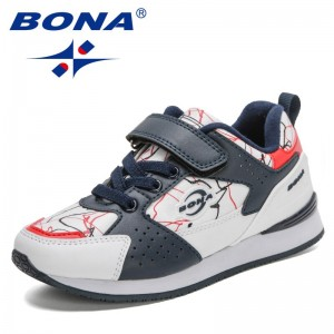 BONA 2021 New Designers Running Sneakers Children Luxury Brand Breathable Sports Shoes Boys Casual Shoes Girls Walking Footwear