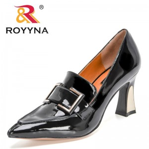 ROYYNA 2021 New Designers Luxury Brand Patent Leather Pumps Ladies Slip On Work Shoes Office Dress Shoes Woman Zapatillas Mujer