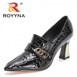 ROYYNA 2021 New Designers Patent Leather High Heels Shoes For Woman Pointed Toe Buckle Work Shoes Female Elegant Shoes Feminimo