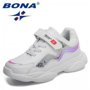 BONA 2021 New Designers Children Classics Casual Shoes Kids Popular Sneakers Child Sport Fashion Jogging Walking Footwear Comfy