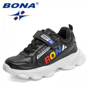 BONA 2021 New Designers Popular Sneakers Children Hook & Loop Casual Shoes Kids Breathable Running Shoes Walking Tenis Footwear