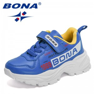 BONA 2021 New Designers Running Shoes Girls Chunky Sneakers Breathable Jogging Shoes Boys Casual Walking Footwear Children Comfy