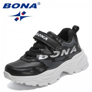BONA 2021 New Designers Running Sneakers Kids Breathable Sport Children Casual Shoes Hook & Loop Outdoor Tennis Shoes Child