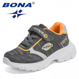 BONA 2021 New Designers Running Sneakers Children Breathable Sport Casual Shoes Child Hook & Loop Outdoor Tennis Shoes Kids Soft