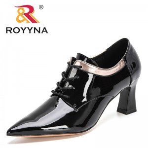 ROYYNA 2021 New Designers Brand Patent Leather Pumps Women Singles Shoes Pointed Toe Boat Shoes Ladies Casual Office Shoes Woman