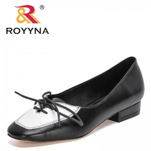 ROYYNA 2021 New Designers Brand Spring Autumn Lower Heels Pumps Women Shallow Genuine Leather Dress Party Office Shoes Ladies