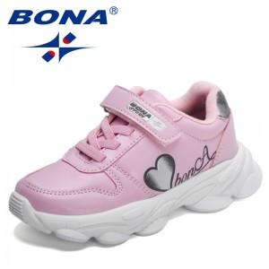 BONA 2021 New Designers Classics Casual Shoes Lightweight Children Fashion Sneakers Boy Girl Trendy Jogging Walking Footwear