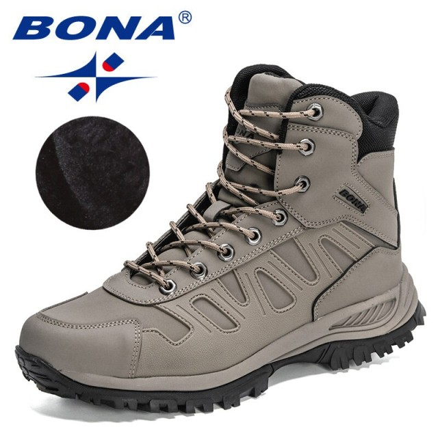 BONA 2022 New Designers Brand Action Leather Hiking Boots Outdoor Sports Shoes Men Anti-skiing High Top Plush Winter Boots Man