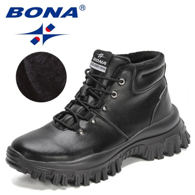 BONA 2022 New Designers Action Leather Top Quality High Top Boots Men Plush Lace Up Ankle Botas Man Motorcycle Boots Mansculino