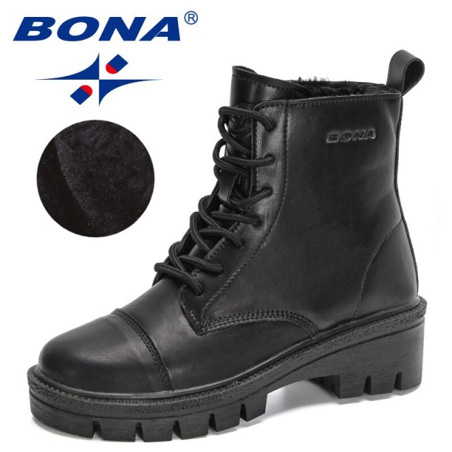 BONA 2022 New Designers Motorcycle Boots Women Winter Action Leather Shoes Ladies Botas Wedges Lace Up Platforms Ankle Boots
