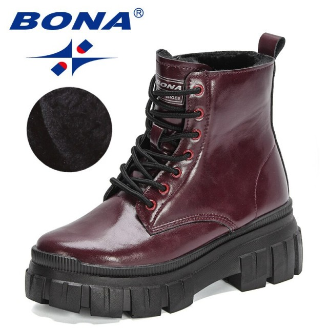 BONA 2022 New Designers British Style Vintage Ankle Boots for Women High Top Plush Warm Boot Woman Winter Platform Comfy Booties
