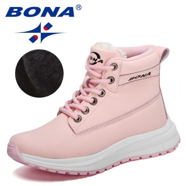 BONA 2022 New Designers High Quality Warm Plush Sneakers Women Ankle Snow Boots Woman Lace-up High Top Footwear Feminimo Comfy