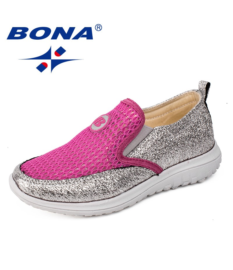 BONA New Fashion Style Girls Casual Shoes Outdoor Walking Jogging Sneakers Elastic Band Girls Loafers Comfortable Free Shipping