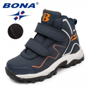 BONA Chinese Shoes manufacture  Children Boots Hook & Loop Boys Winter Shoes Synthetic Girls Ankle Boots Comfortable Fast Free Shipping