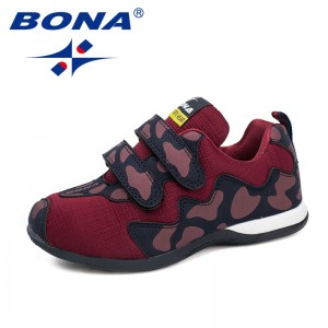BONA New Arrival Fashion Style Children Casual Shoes Hook & Loop Boys Shoes Mesh Girls Shoes Outdoor Sneakers Fast Free Shipping
