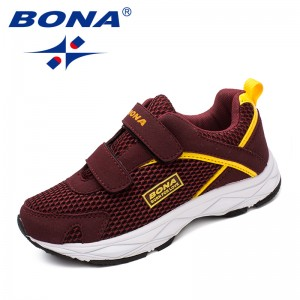 BONA New Fashion Style Children Casual Shoes Mesh Girls Flats Hook & Loop Girls Loafers Outdoor Fashion Sneakers Free Shipping