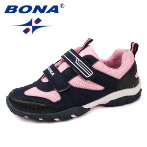 BONA New Fashion Style Children Casual Shoes Hook & Loop Boys Loafers Mesh Girls Flats Outdoor Sneakers Soft Fast Free Shipping
