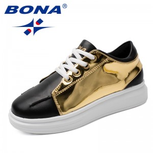 BONA New Fashion Style Children Casual Shoes Lace Up Boys Loafers Metal Color Girls Flats Outdoor Sneakers Fast Free Shipping