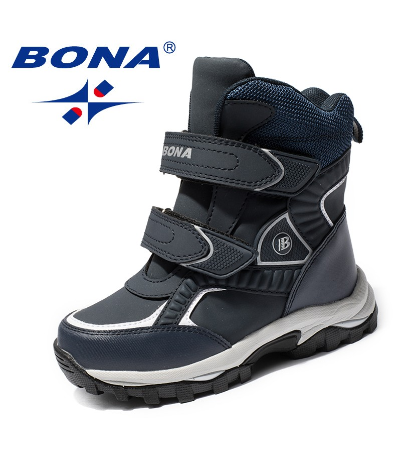 BONA Chinese Shoes manufacture  Children Boots Hook & Loop Boys Snow Boots Leather Boys Ankle Boots Outdoor Fashion Sneakers