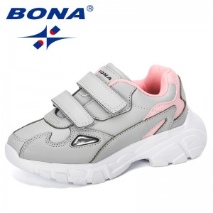 BONA 2019 New Designer Children Shoes Soft Bottom Non-slip Kids Sports Shoes Light Boys Girls Sneakers Walking Jogging Footwear