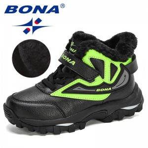 BONA 2020 New Arrival Snow Boots Outdoor Sneakers Boys Leather Ankle Boots Girls Anti-Slip Children Winter Boots Sport Shoes