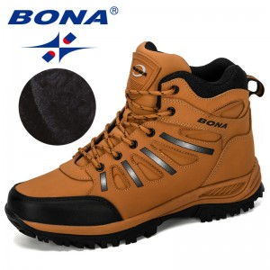 BONA 2019 New Designers Popular Trekking Shoes Men Leather Climbing Sport Sneakers Man Zapatillas Outdoor Hombre Hiking Shoes