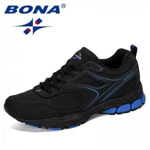 BONA 2019 New Designer Cow Split Leather Outdoor Men Sneakers Cushion Casual Shoes Men Height Increasing Leisure Footwear Male