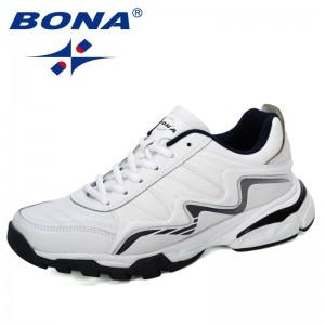 BONA 2019 New Designer Action Leather Running Shoes Man Sports Outdoor Sneakers Men Athletic Footwear Zapatillas Walking Jogging