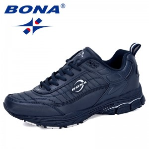 BONA 2019 New Designers Cow Split Professional Running Shoes Men Outdoor Walking Jogging Shoes Male Comfy Sneakers Trendy Shoes