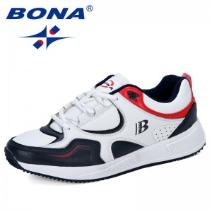 BONA 2019 New Designer Cow Split Running Shoes Men Sneakers Bounce Outdoor Sport Shoes Professional Training Shoes Man Trendy