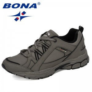 BONA 2019 New Designer Action Leather Running Shoes Men Sneakers Outdoor Sport Shoes Professional Training Shoes Jogging Shoes