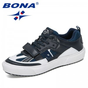 BONA 2019 New Popular Style Walking Shoes Men Sports Action Leather Sneakers Man Low-top Skateboarding Shoes Male Footwear Comfy