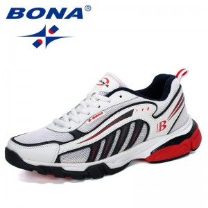 BONA 2019 New Designers Running Shoes Man Cow Split Sport Shoes Men Jogging Footwear Outdoors Lightweight Breathable Men Shoes