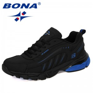 BONA 2019 New Designers Cow Split Running Shoes Men Lace Up Shoes Male Outdoor Walking Jogging Sports Shoes Man Comfortable