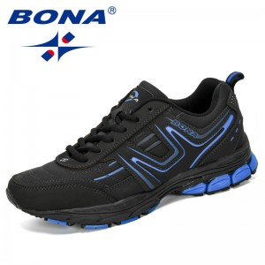 BONA 2019 New Designers Cow Split Men Running Shoes Outdoors Sports Shoes Zapatos Jogging Comfortable Athletic Male Sneakers